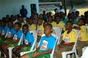 Students listen keenly at the close of the WICB/Scotiabank Kiddy Cricket camp.